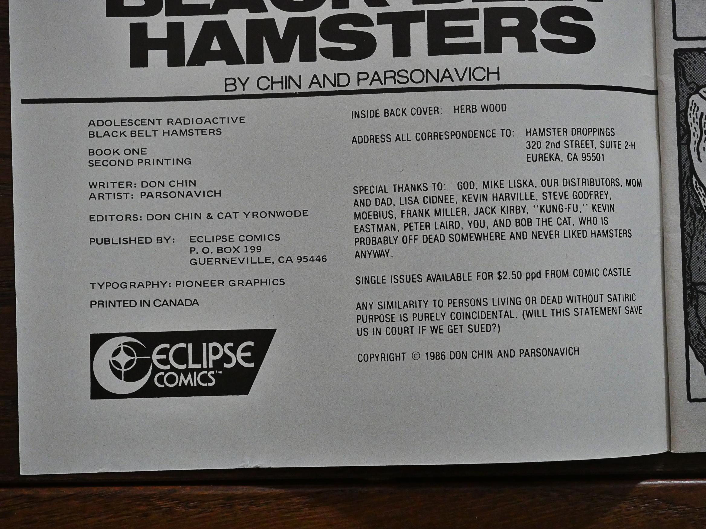 1986: Adolescent Radioactive Black Belt Hamsters &c – Total